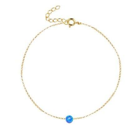 Pozłacana bransoletka z niebieskim opalem