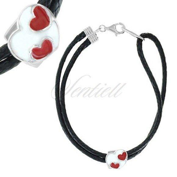 Srebrna bransoletka pr.925 czarna - emalia serce