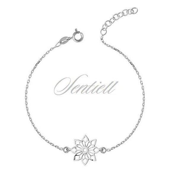 Srebrna bransoletka pr.925 z ażurową zawieszką kwiatek
