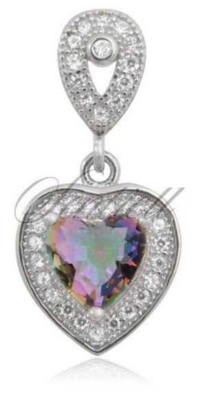 Srebrna zawieszka pr.925 Cyrkonia różnokolorowa serce wysadzane kryształkami