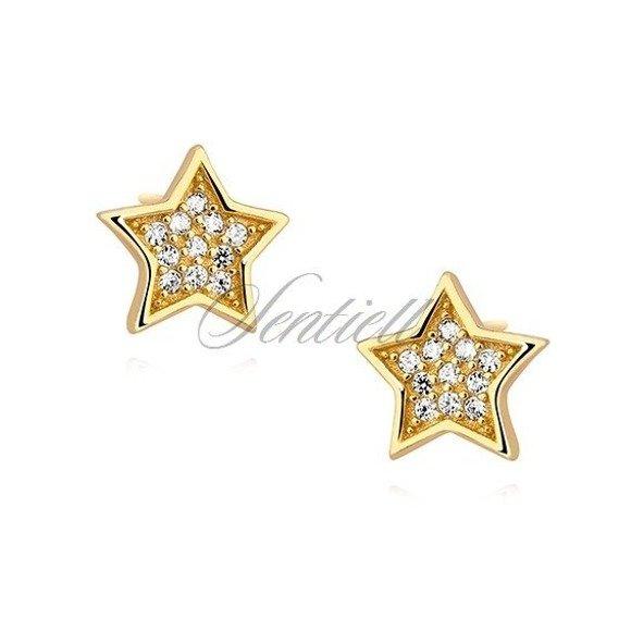 Srebrne kolczyki pr. 925 gwiazdki z cyrkoniami, pozłacane
