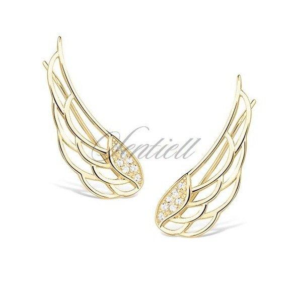 Srebrne kolczyki pr. 925 nausznice skrzydła anioła z cyrkoniami pozłacane
