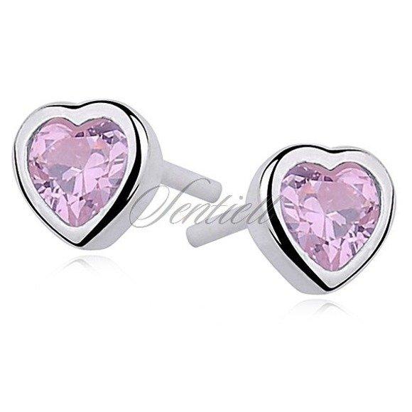 Srebrne kolczyki serca pr.925 Cyrkonia różowa serce