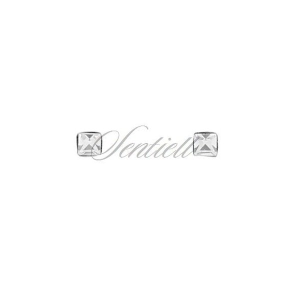 Srebrne pr.925 kolczyki do nosa kwadratowe z cyrkonią w opakowaniu - różne kolory