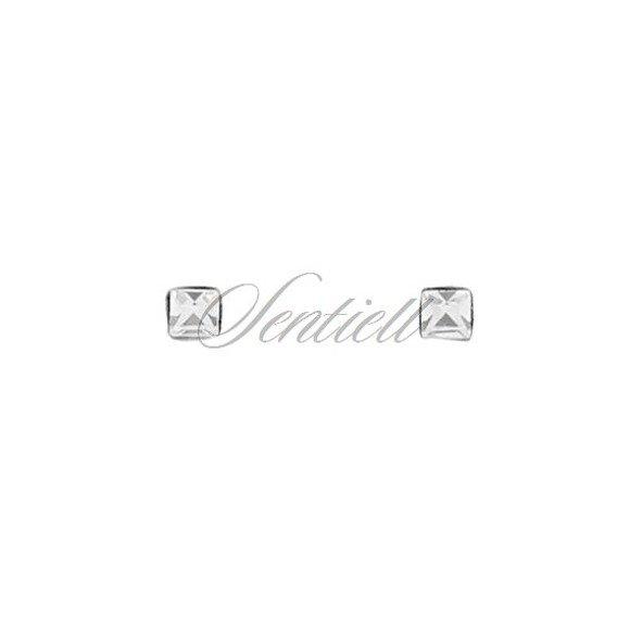 Srebrne pr.925 kolczyki do nosa kwiatki z białymi cyrkonią w opakowaniami