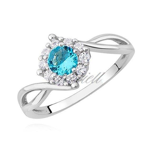 Srebrny delikatny pierścionek pr.925 z błękitną cyrkonią