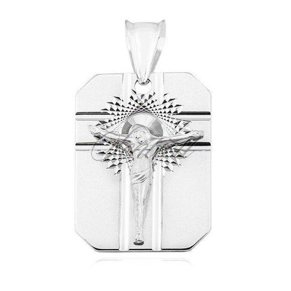 Srebrny diamentowany męski medalik pr.925 Jezus na krzyżu