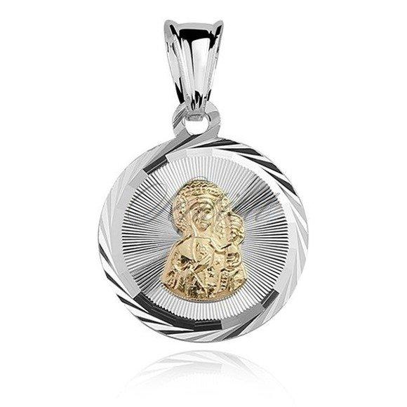 Srebrny klasyczny medalik pozłacana Matka Boska Częstochowska