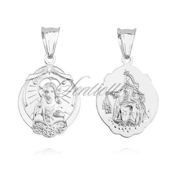Srebrny medalik w stylu vintage Jezus / Matka Boska Szkaplerzna ozdobny