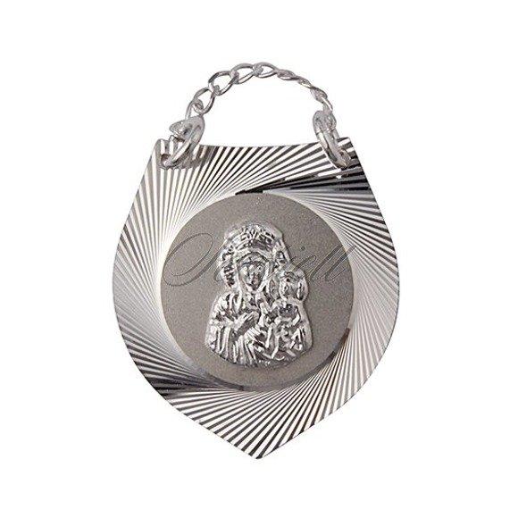 Srebrny medalik Ryngraf Matka Boska prezent na chrzest