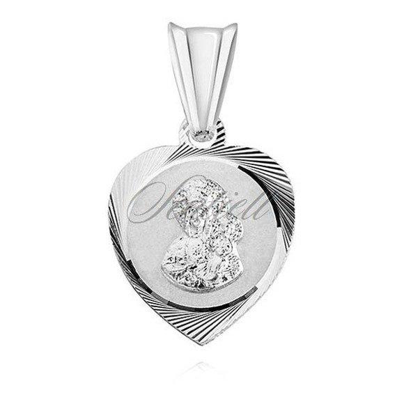 Srebrny medalik serce diamentowane Matka Boska Częstochowska