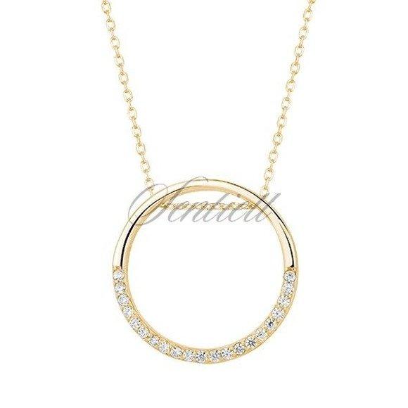Srebrny naszyjnik pr.925 okrąg z cyrkoniamii