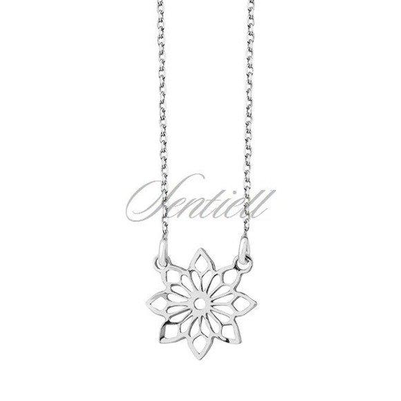 Srebrny naszyjnik pr.925 z ażurową zawieszką kwiatkiem - pozłacany