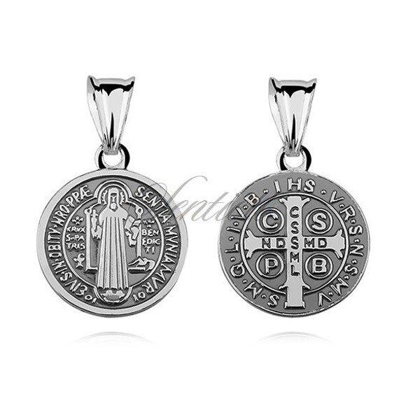 Srebrny dwustronny oksydowany medalik pr.925 Święty Benedykt