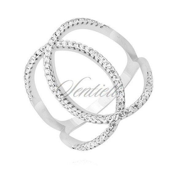 Srebrny pierścionek pr.925 okręgi z cyrkoniami