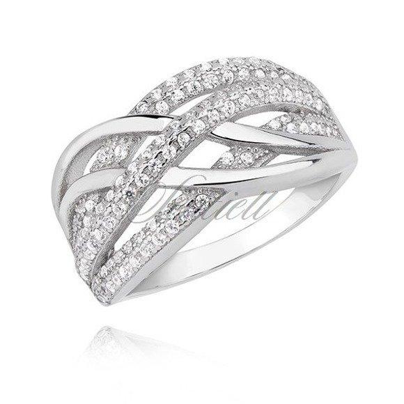 Srebrny pleciony masywny pierścionek pr.925 z białą cyrkonią