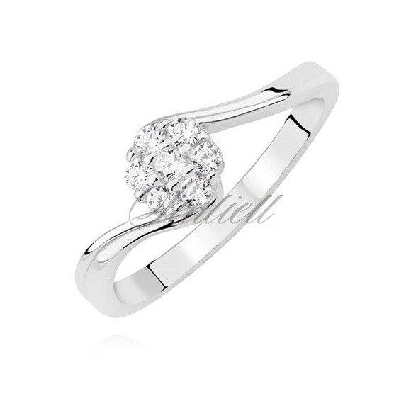 Srebrny asymetryczny pierścionek pr.925 z białą cyrkonią
