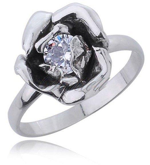 Srebrny pierścionek pr.925 z białą cyrkonią kwiat