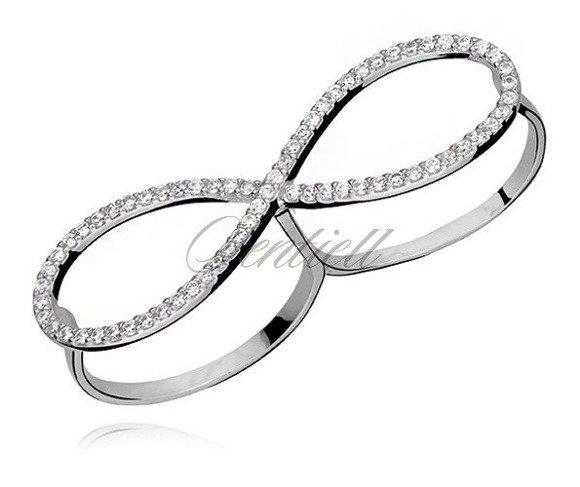 Srebrny podwójny pierścionek  pr.925 cyrkonia biała - Nieskończoność