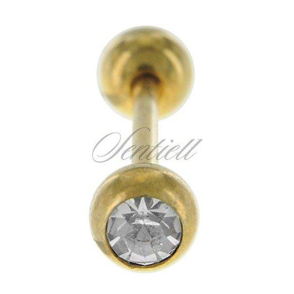 Stalowy (316L) kolczyk sztanga - złoty z cyrkonią